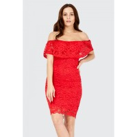 Women BARDOT LACE FRILL BODYCON DRESS S0470401074_RED UZWDLQU