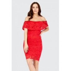 Women BARDOT LACE FRILL BODYCON DRESS S0470401074 RED UZWDLQU