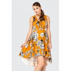 Women FLORAL DIP HEM FRILL DRESS S0480406011 MULTI IAQTMJN