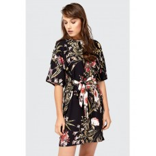 Women TIE WAIST FLORAL TEA DRESS S0480406009 BLACK UBYYNWZ