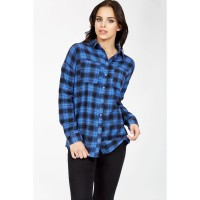 Women ARIZONA 97 CHECK SHIRT S0440102009_BLUE UROJQEW