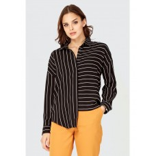Women ASYMMETRIC STRIPE VISCOSE SHIRT S0480102006 MONO LBWDWBL