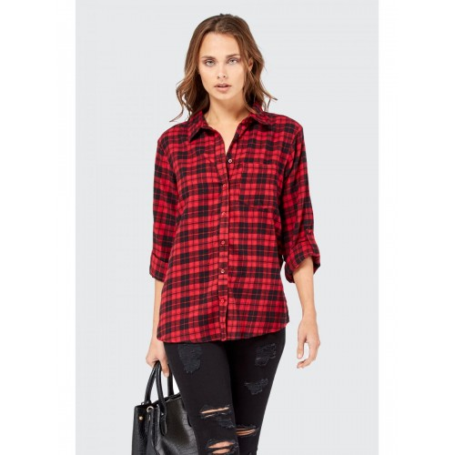 Women OVERSIZED CHECK SHIRT S0460102016 RED MEYASXO