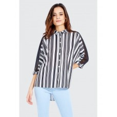 Women PANEL STRIPE CREPE SHIRT S0460102014 MONO WVUZUEJ