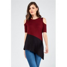 Women ASYMMETRIC COLOURBLOCK COLD SHOULDER TOP S0461401074 RIOJA NOKQDVT