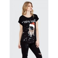 Women SNOW PROBS XMAS PUG T-SHIRT S0461401089_BLACK QVCVDUT