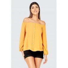 Women BUTTON DETAIL CRINKLE BARDOT BLOUSE S0470101040 MUSTARD QKYYYPA