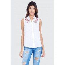 Women CHAMBRAY EMBROIDERED SLEEVELESS SHIRT S0460102001 WHITE QUQCXBF