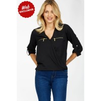 Women DOUBLE ZIP WRAP BLOUSE S0440101005_BLACK EOSPGAZ