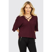 Women LATTICE FRONT WRAP BLOUSE S0440101014_LOGANBERRY WVGWJQO