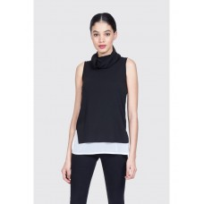 Women CHIFFON MIX CUT AND SEW VEST S0451403002 BLACK QCXHCIP
