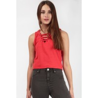 Women LACE UP CROP VEST S0431403033_RED BGRHEFE