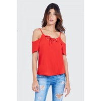 Women LATTICE DETAIL COLD SHOULDER VEST S0460104002_RED ZGHSJKY