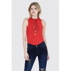 Women STATEMENT LATTICE SLEEVELESS BODYSUIT S0451404024 RED JQVGEGR