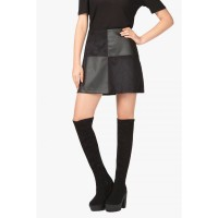 Women PATCHWORK SUEDE A-LINE SKIRT S0420901018_BLACK KWEZSBH