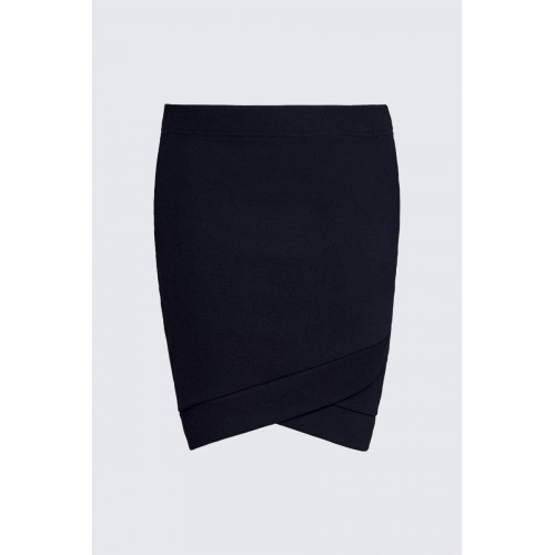 Women WRAP HEM JERSEY CREPE MINI SKIRT S0450901044 BLACK KTMPWEL