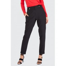 Women BI STRETCH BUTTON TAB TROUSER S0461103037 BLACK DCAXCKD