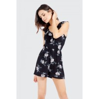 Women BLOSSOM FRILL V NECK PLAYSUIT S0451104054_BLACK SVBEGHE