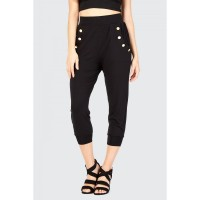 Women BUTTON DETAIL HAREM PANT S0470502042_BLACK PYCJFPE