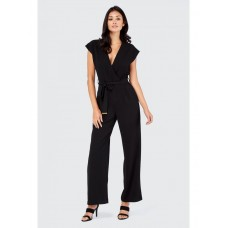 Women CREPE WRAP WIDE LEG JUMPSUIT S0461104016 BLACK XOORPIO