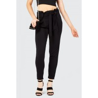 Women JERSEY CREPE PEG LEG TROUSER LONG S0481103040_BLACK RACYPAA